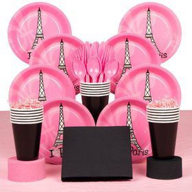 Paris Birthday Party Deluxe Tableware Kit Serves 8