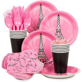 Paris Birthday Party Standard Tableware Kit Serves 8