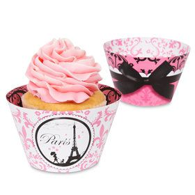 Paris Damask - Reversible Cupcake Wrappers (12)