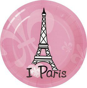 "Paris Party 7"" Cake Plates (8 Pack)"