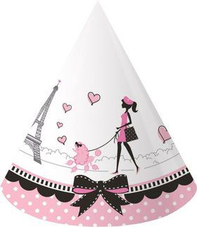 Paris Party Child Party Hats (8 Pack)