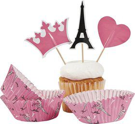 Paris Party Cupcake Cups w/ Picks (50 Pack)