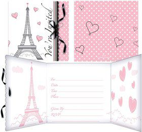 Paris Party Invitations w/ Ribbon (8 Pack)