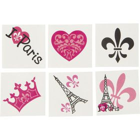 Paris Party Tattoo Favors (72 Pack)