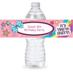 Party Bows Personalized Bottle Label (Sheet of 4)