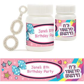 Party Bows Personalized Bubbles (18 Pack)