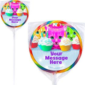 Party Cats Personalized Lollipops (12 Pack)