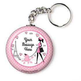"Party in Paris Personalized 2.25"" Key Chain (Each)"