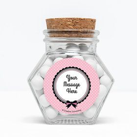 "Party in Paris Personalized 3"" Glass Hexagon Jars (Set of 12)"