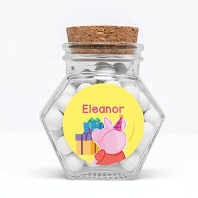 """Party Pig Personalized 3"""" Glass Hexagon Jars (Set of 12)"""