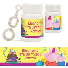 Party Pig Personalized Bubbles (18 Pack)