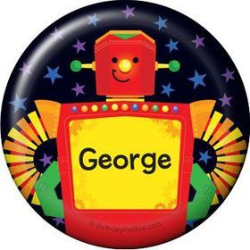 Party Robot Personalized Button (each)