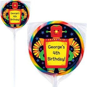 Party Robot Personalized Lollipops (pack of 12)