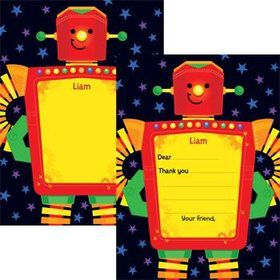Party Robot Personalized Thank You Note (each)