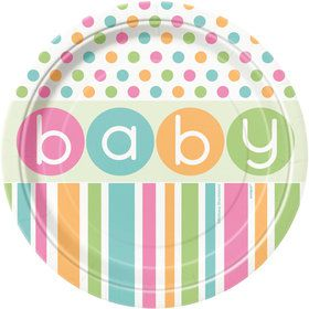 "Pastel Baby Shower 7"" Cake Plates (8 Count)"