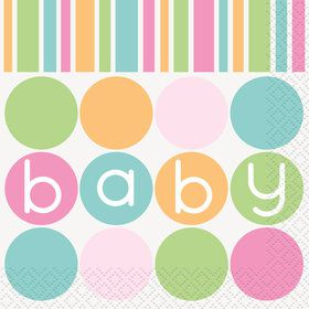 Pastel Baby Shower Beverage Napkins (16 Count)