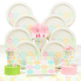 Pastel Baby Shower Deluxe Tableware Kit (Serves 8)