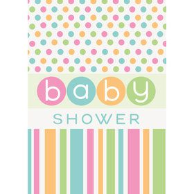Pastel Baby Shower Invitations (8 Count)