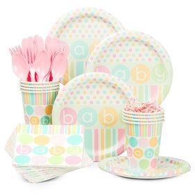 Pastel Baby Shower Standard Tableware Kit (Serves 8)