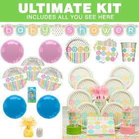 Pastel Baby Shower Ultimate Tableware Kit (Serves 8)