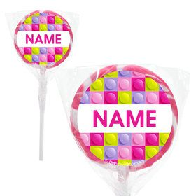 "Pastel Block Party Personalized 2"" Lollipops (20 Pack)"