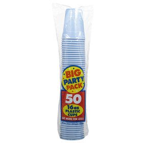 Pastel Blue Big Party Pack 16 oz. Plastic Cups