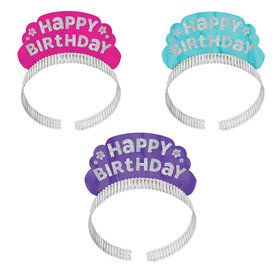 Pastel Glitter Happy Birthday Tiara Headbands (12 Count)