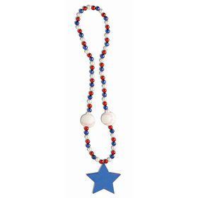 "Patriotic 40"" Baseball & Star Bead Necklace (1)"
