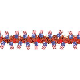 Patriotic Flags Tinsel Garland Decoration (Each)
