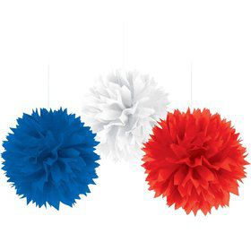 Patriotic Fluffy Decorations (3 Count)