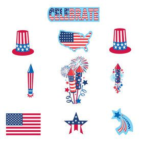 Patriotic Paper Cutouts Decorations Value Pack (30 Pack)