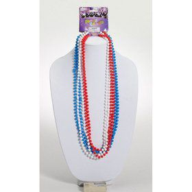 Patriotic Red, White & Blue Festive Bead Necklaces (6pk)