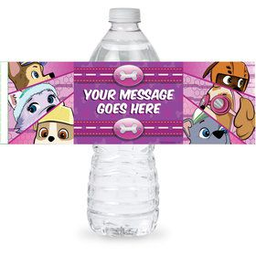 Paw Command Pink Personalized Bottle Label (Sheet of 4)