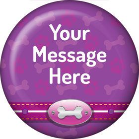 Paw Command Pink Personalized Button (Each)