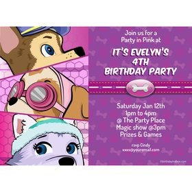 Paw Command Pink Personalized Invitation (Each)