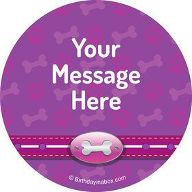 Paw Command Pink Personalized Mini Stickers (Sheet of 24)