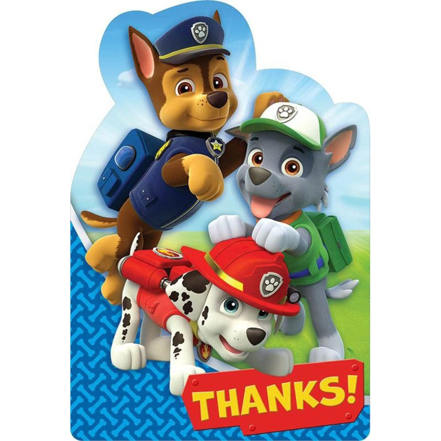 Paw Patrol Thank You Cards (8 Pack) - Party Supplies BB481462