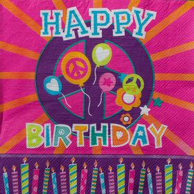 Peace Love Birthday Luncheon Napkins (16 Count)
