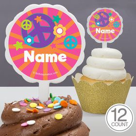 Peace Love Birthday Personalized Cupcake Picks (12 Count)