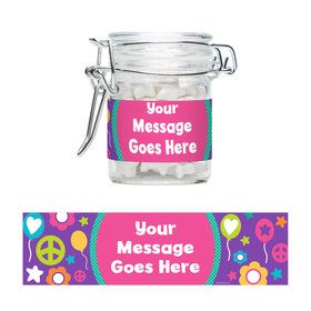Peace Love Birthday Personalized Glass Apothecary Jars (12 Count)