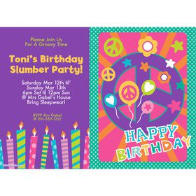 Peace Love Birthday Personalized Invitation (Each)