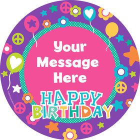 Peace Love Birthday Personalized Stickers (Sheet of 12)