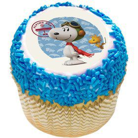 "Peanuts Snoopy Flying Ace 2"" Edible Cupcake Topper (12 Images)"