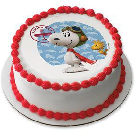 "Peanuts Snoopy Flying Ace 7.5"" Round Edible Cake Topper (Each)"