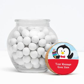 "Penguin Personalized 3"" Glass Sphere Jars (Set of 12)"