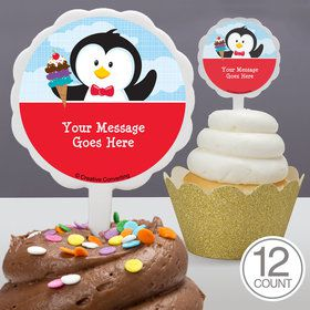 Penguin Personalized Cupcake Picks (12 Count)