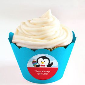 Penguin Personalized Cupcake Wrappers (Set of 24)