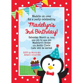 Penguin Personalized Invitation (Each)