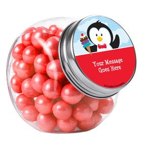 Penguin Personalized Plain Glass Jars (12 Count)