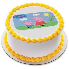 "Peppa Pig Sunny Days 7.5"" Round Edible Cake Topper (Each)"